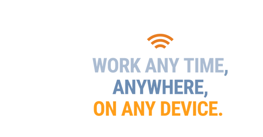 Cloud with the text 'Work anytime, anywhere, on any device' in the middle